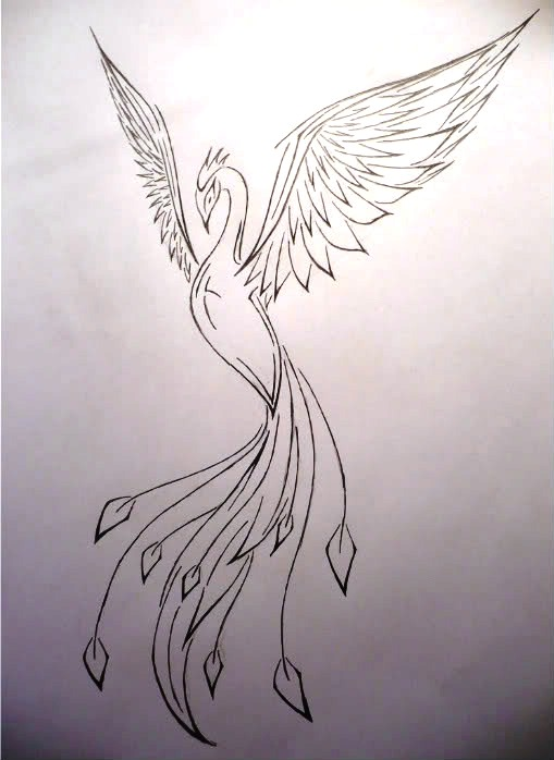Female Phoenix Tattoo Sketch