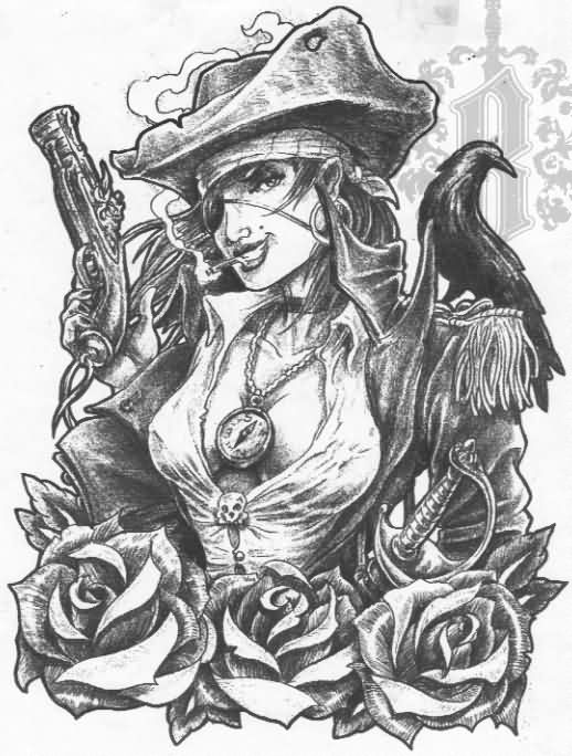 Female Pirate And Roses Tattoos Sketch