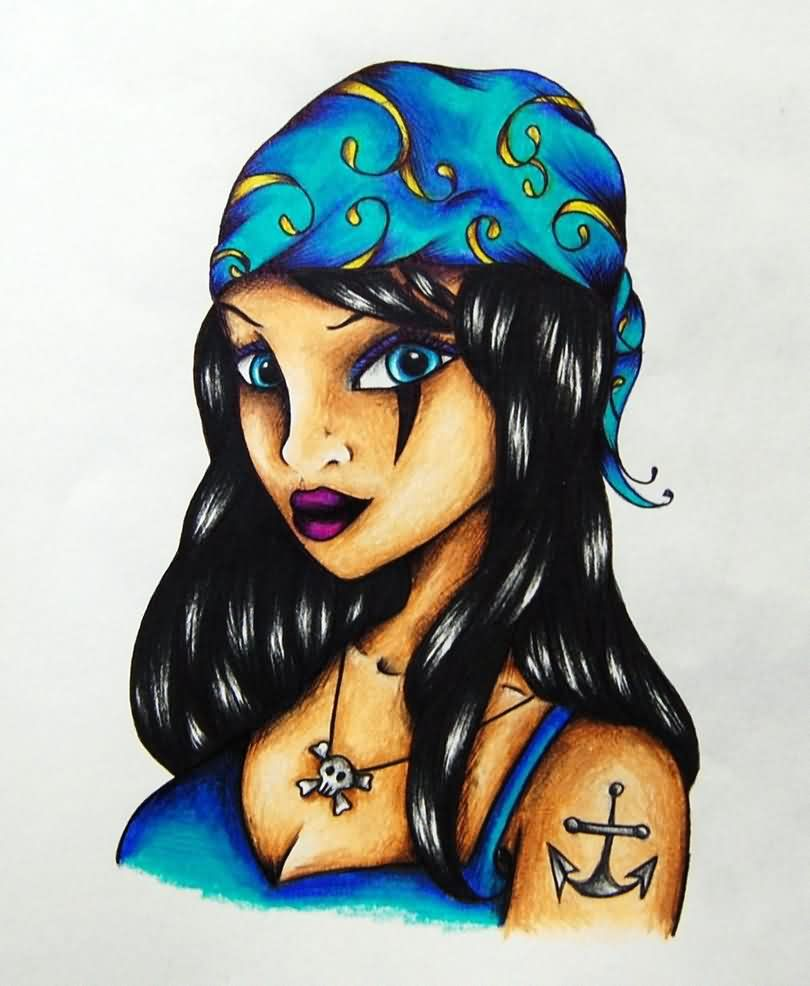 Female Pirate Tattoo Design