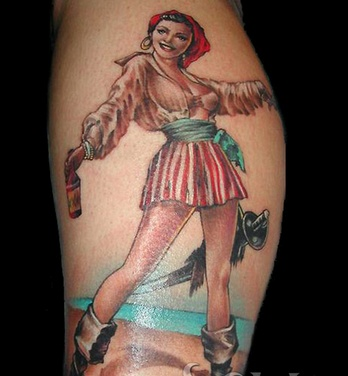 Female Pirate With Beer Tattoo