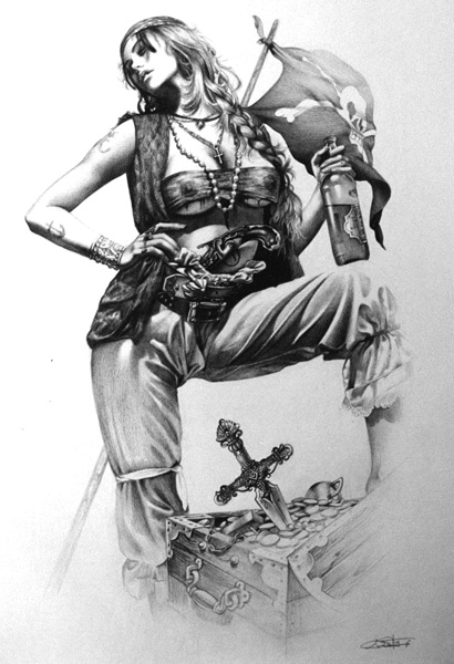 Female Pirate Woman With Beer Tattoo Sketch