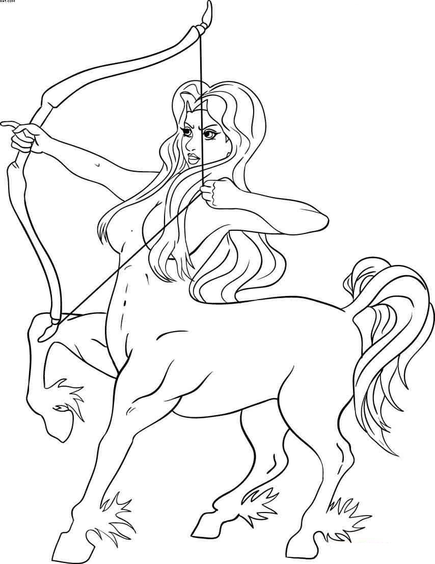 Female Sagittarius Outline Tattoo Sample