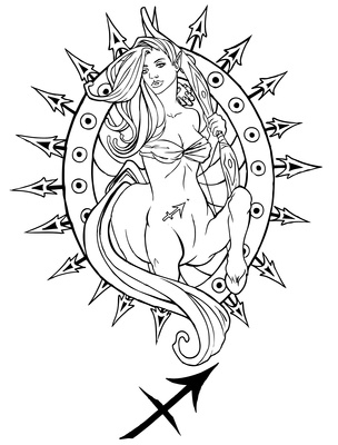 Female Sagittarius Sign Tattoo Sample