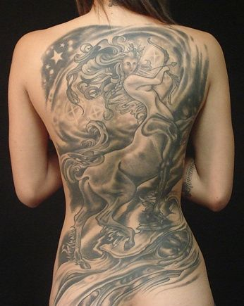 Female Sagittarius Tattoo On Entire Back