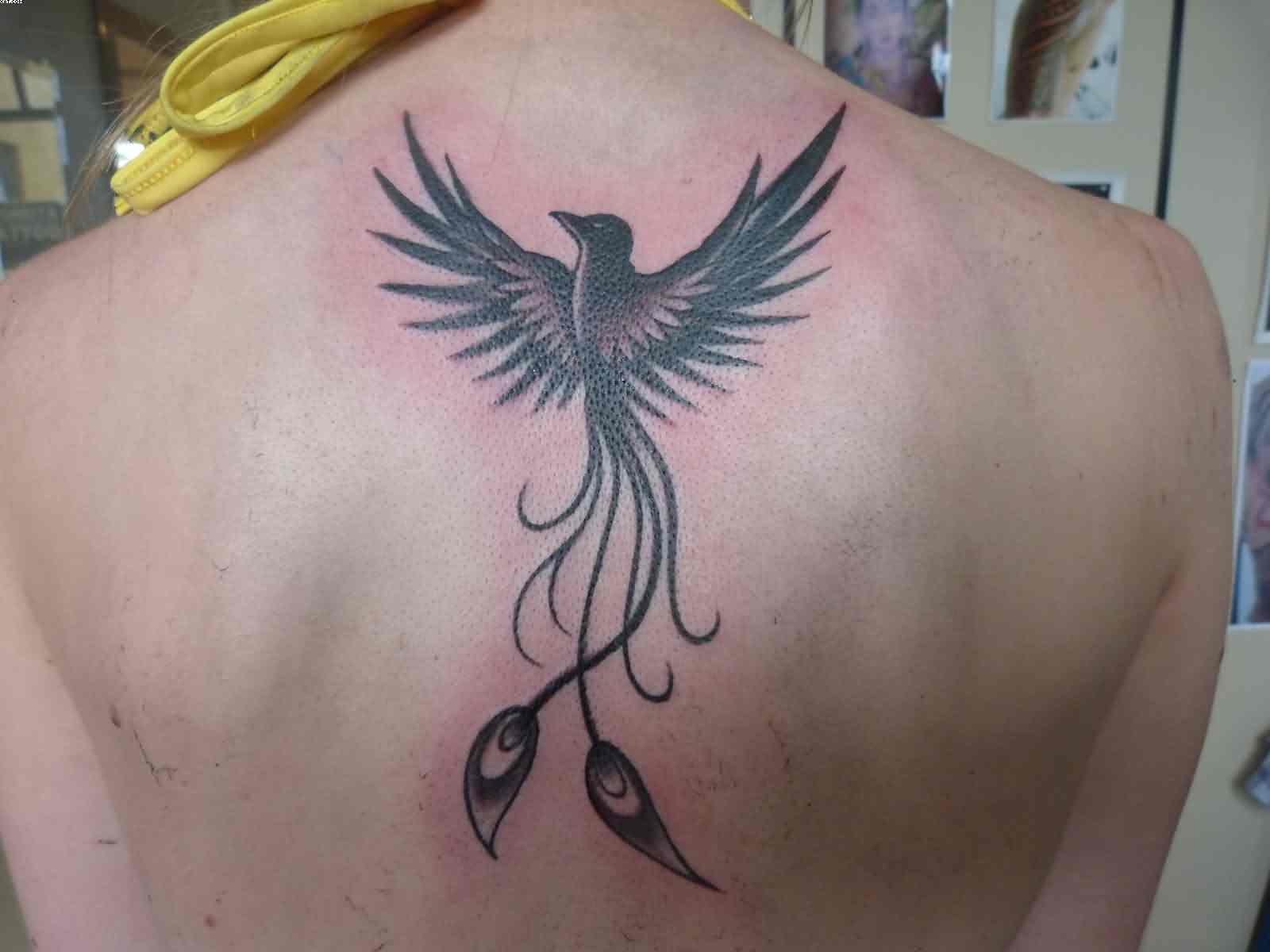Feminine Phoenix Tattoo On Back