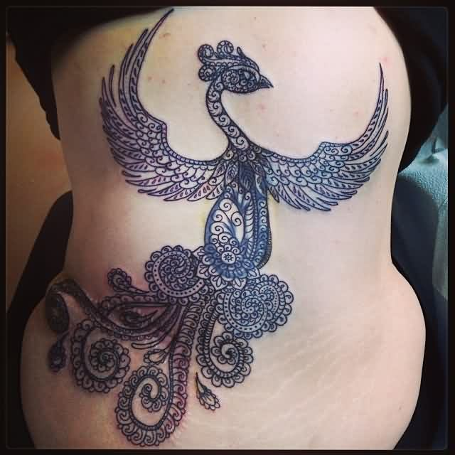 Feminine Phoenix Tattoo On The Backbody