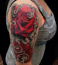 Feminine Red Rose Tattoos On Half Sleeve