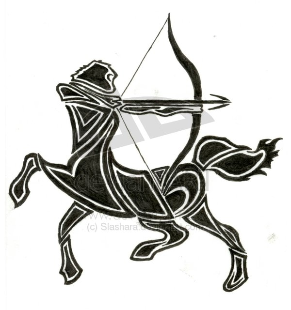 Final Tribal Sagittarius Tattoo Design