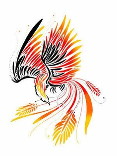 Fire Bird Phoenix Tattoo Stencil