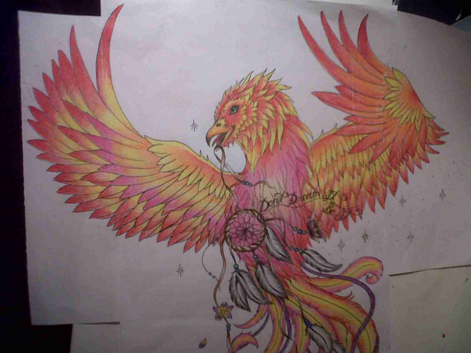Fire Bird Phoenix With Dreamcatcher Tattoo Design