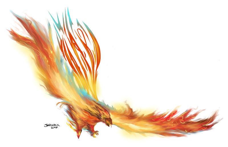 Fire Color Phoenix Tattoo Stencil