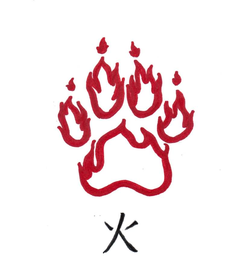 Fire Paw Print And Kanji Symbol Tattoos