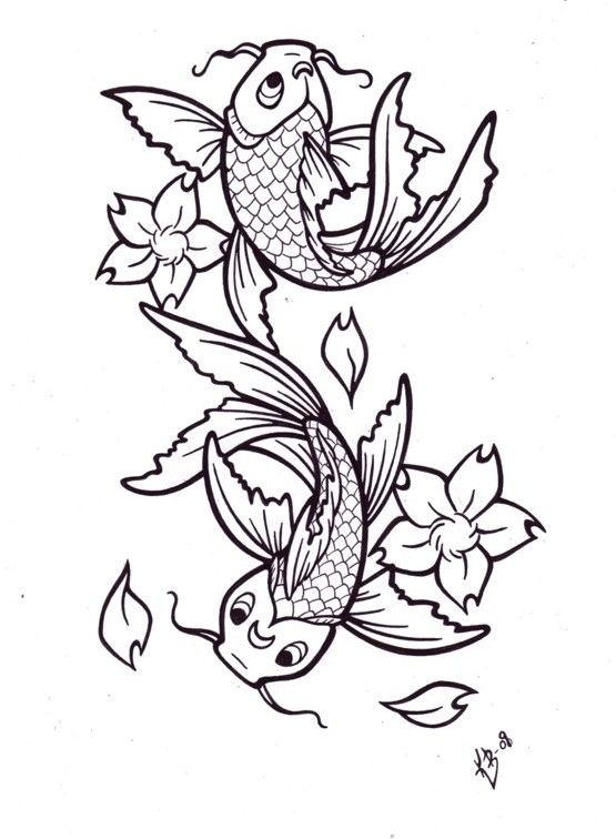 Fish Pisces And Blossoms Tattoos Sample