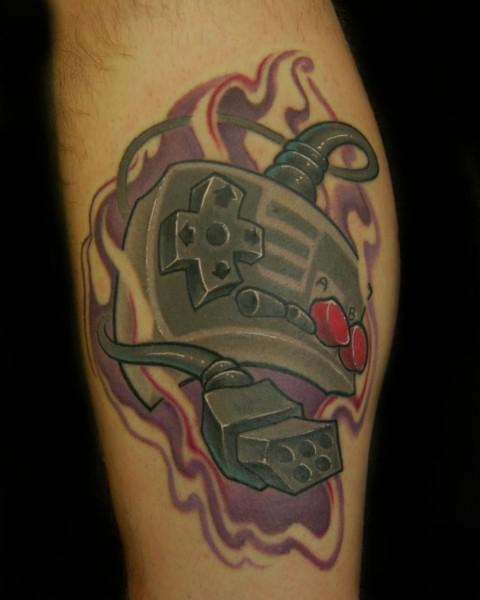 Flames And Nintendo Joystick Tattoos