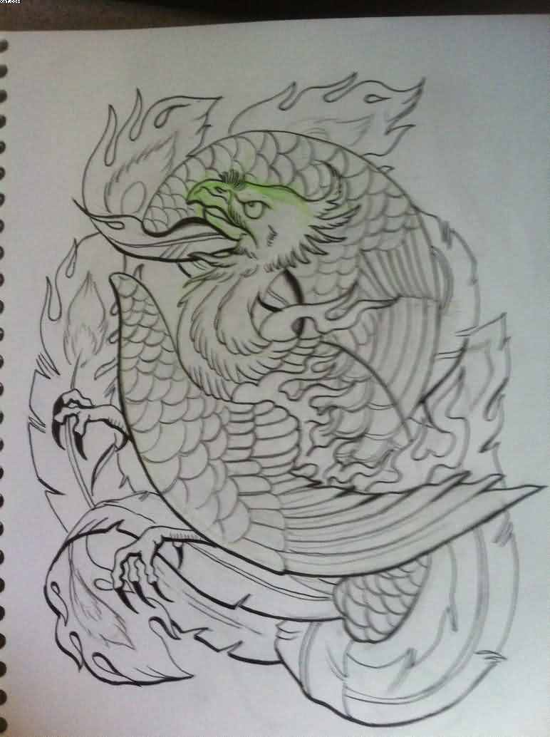 Flames And Phoenix Tattoos Drawing