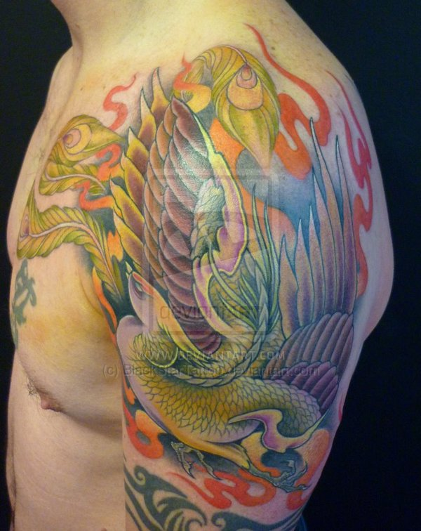 Flames And Phoenix Tattoos On Arm