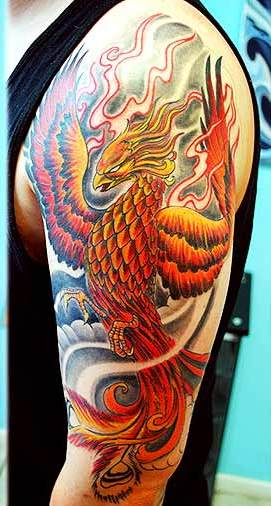 Flames And Phoenix Tattoos On Half Sleeve