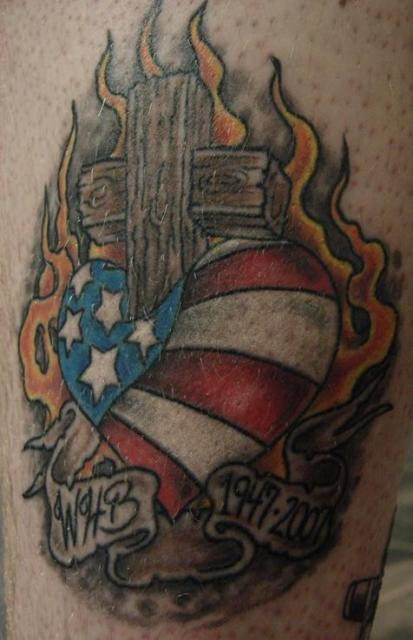 Flames Behind Patriotic Heart Cross Tattoo
