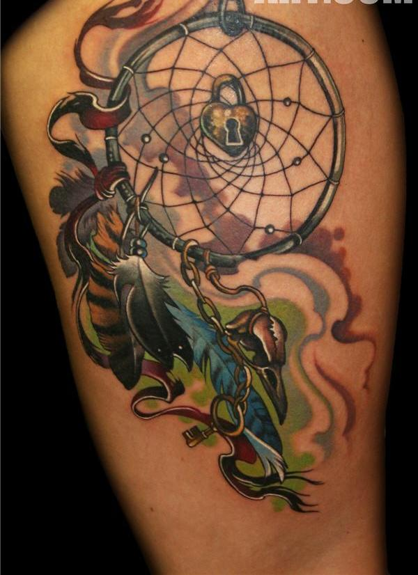 Flames Dreamcatcher And Feather Tattoos