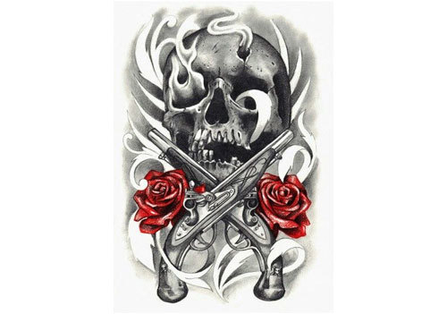 Flames From Skull Pistol And Red Rose Tattoo Designs