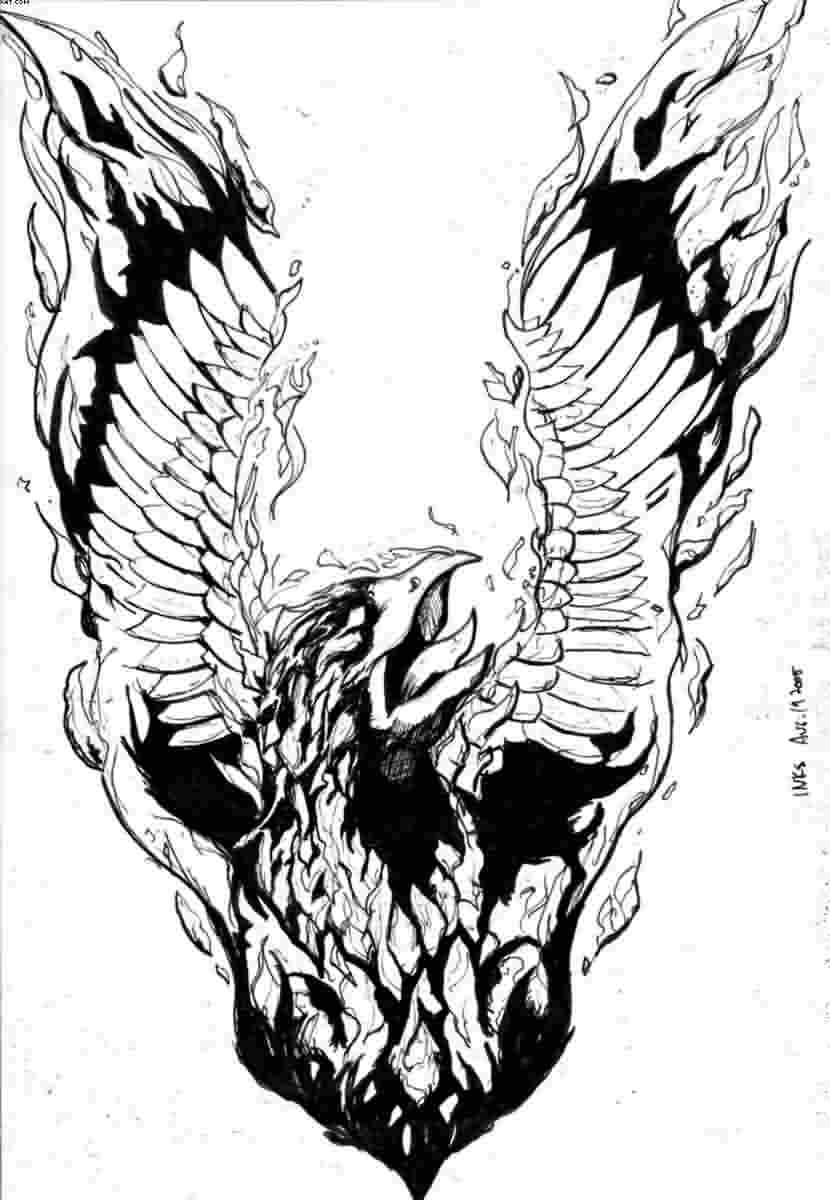 Flames Phoenix Tattoo Sample