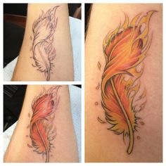 Flaming Phoenix Feather Tattoos
