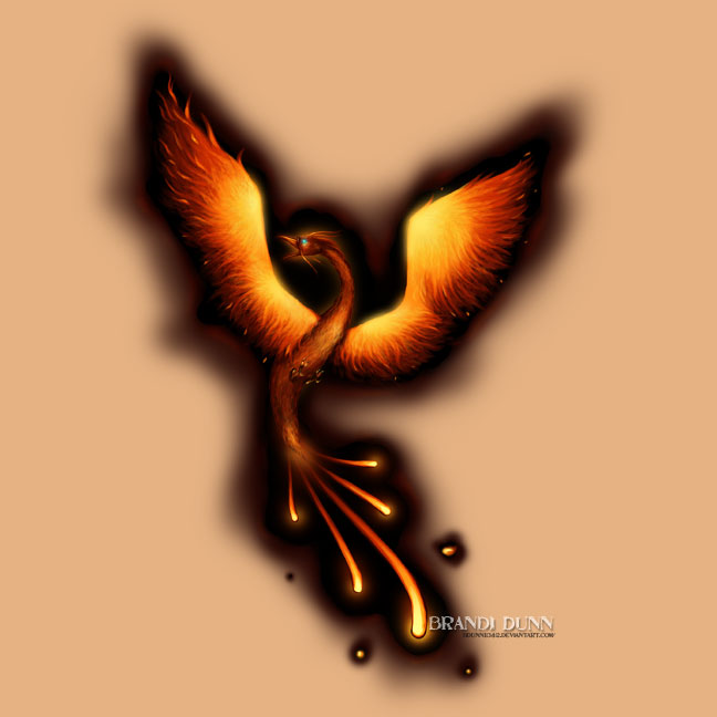 Flaming Phoenix Tattoo Design Flash