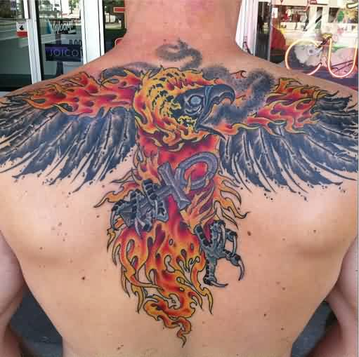 Flaming Phoenix With Egyptian Cross Tattoo On Upperback
