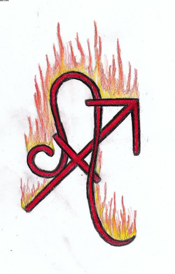 Flaming Red Leo And Sagittarius Tattoo Designs