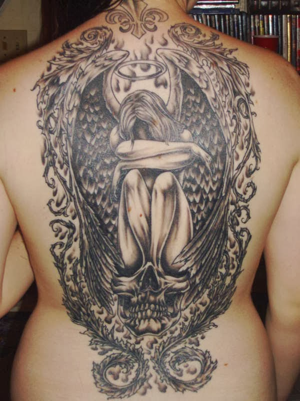 Fleur De Lis Sad Angel On Skull Tattoos On Back
