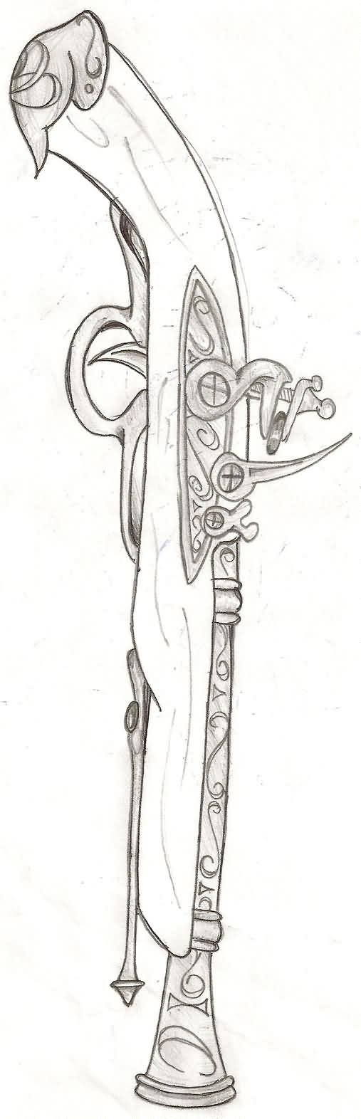 Flintlock Pistol Tattoo Sketch (2)