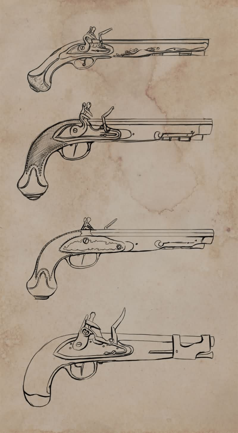 Flintlock Pistols Tattoos Set