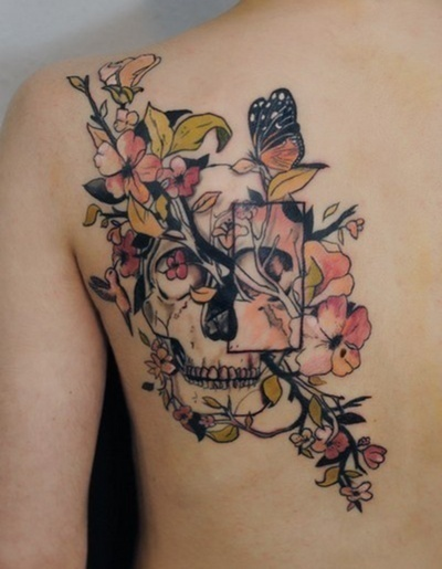 Floral Skull And Butterfly Tattoos Behind Left Shoulder
