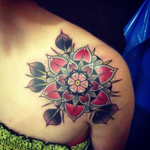 Flower Mandala Tattoo On Front Of Shoulder