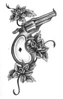 Flower Vine And A Pistol Tattoo Design