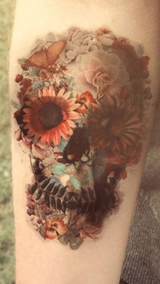 Flowered Skull Tattoo