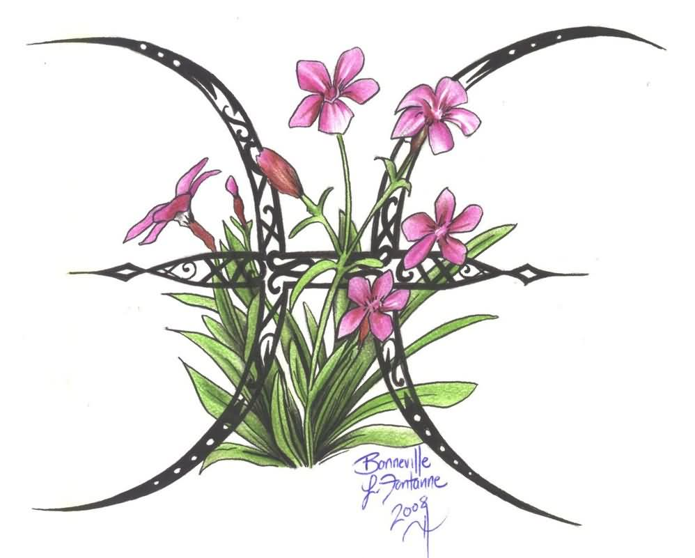 Flowered Zodiac Pisces Tattoo Design