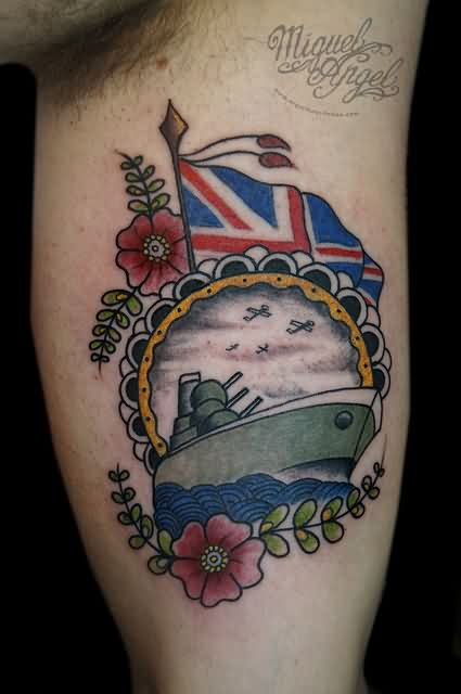 Flowers And Patriotic Tattoos On Muscles