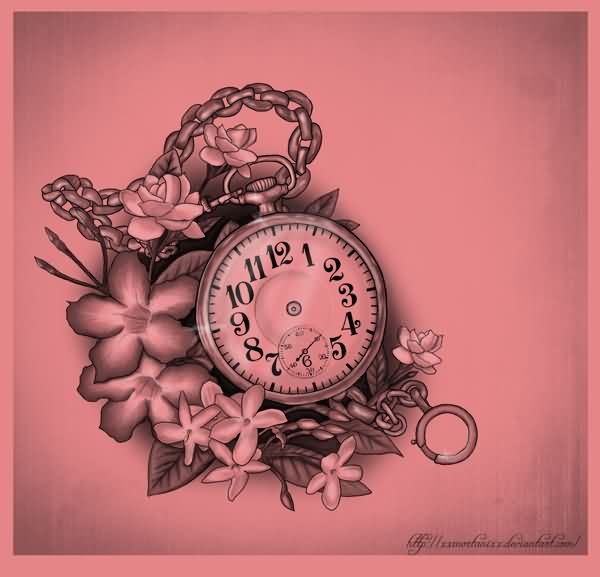 Flowers Around Pocket Watch Tattoo Flash