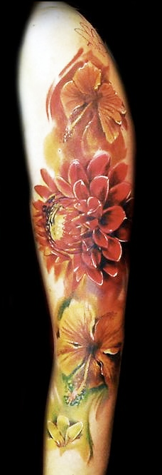 Flowers Color Tattoos On Arm