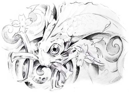 Flowers Fish And Pisces Tattoos Drawing