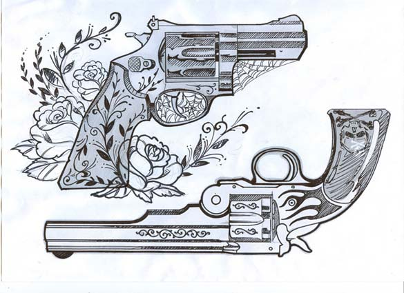 Flowers Spiderweb Pistol Tattoo Designs