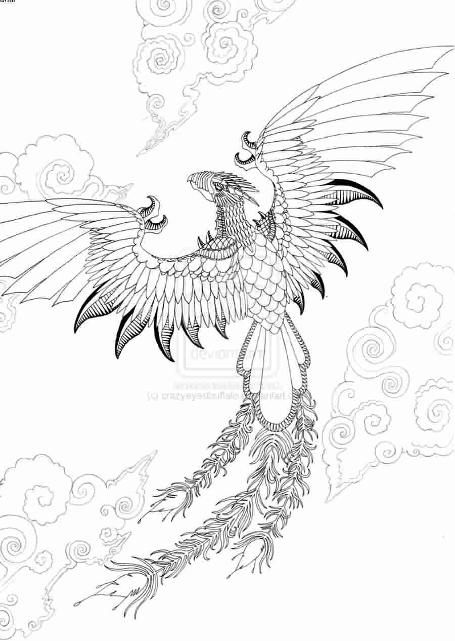Flying Phoenix Outline Tattoo Design