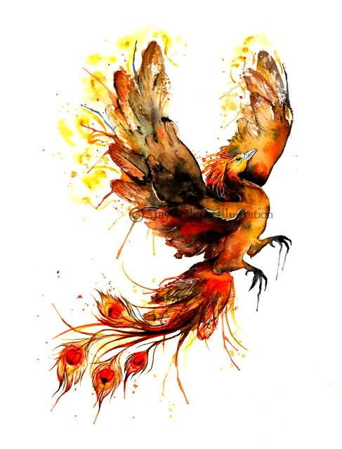 Flying Phoenix Tattoo Design