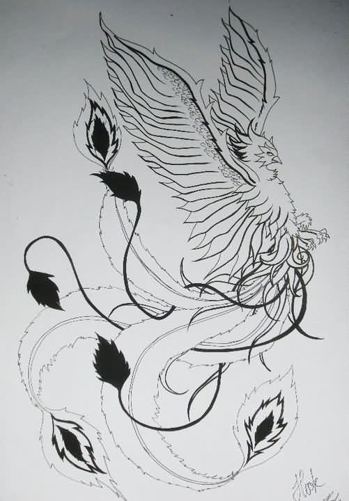 Flying Phoenix Tattoo Drawing