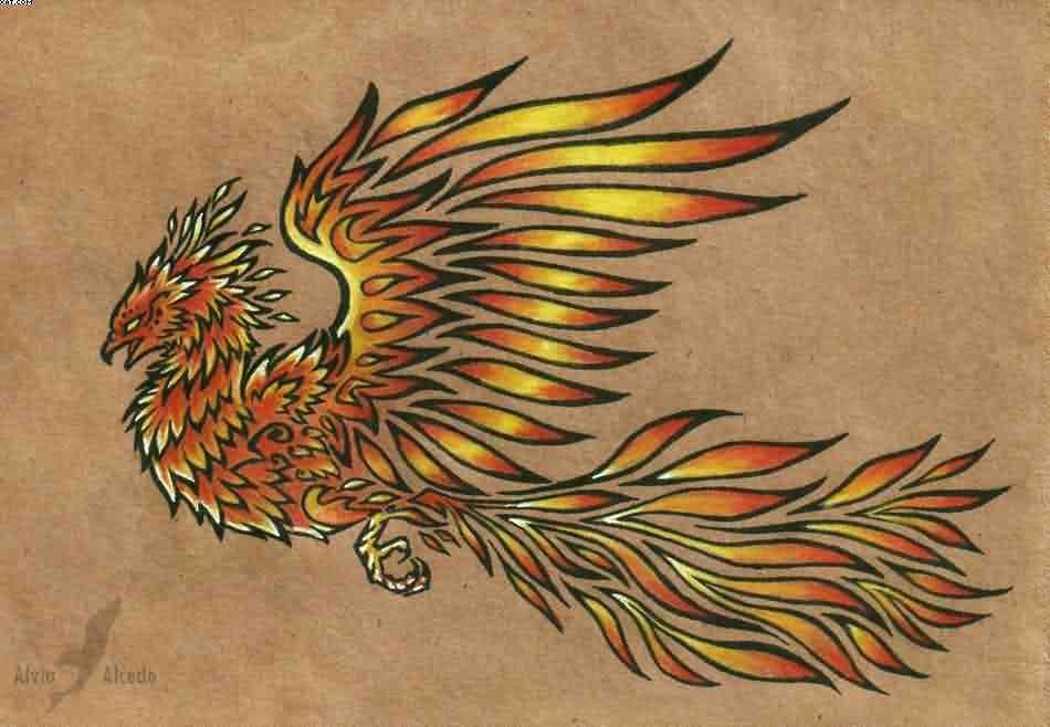 Flying Phoenix Tattoo Poster