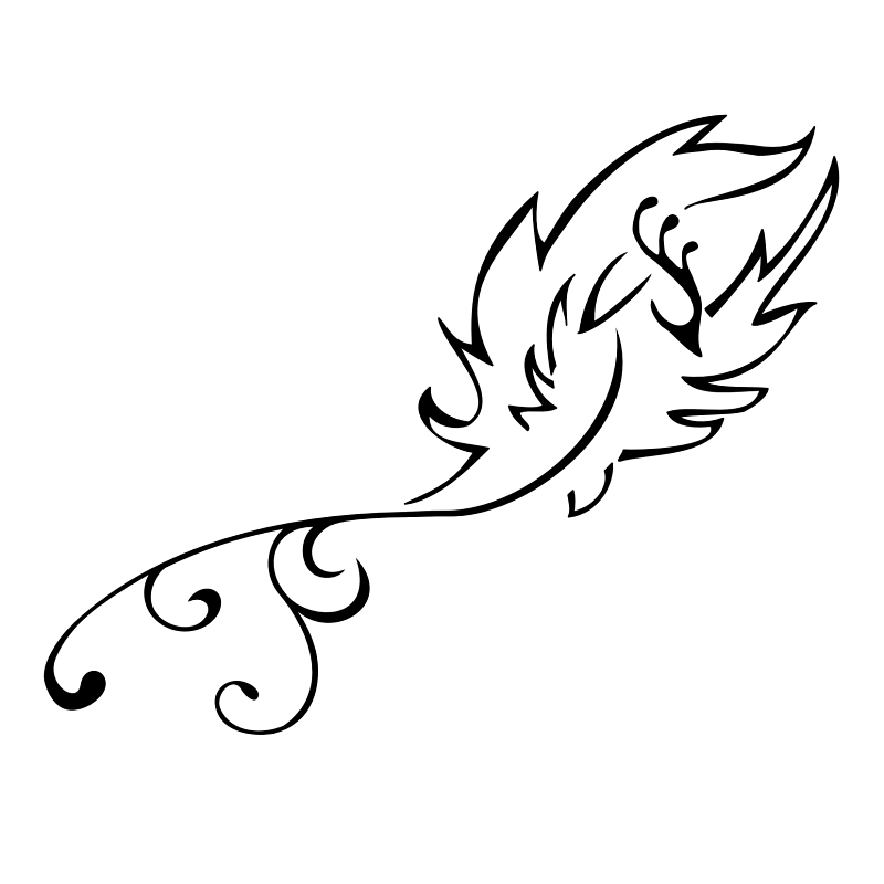 Flying Phoenix With Curly Tail Tattoo Stencil