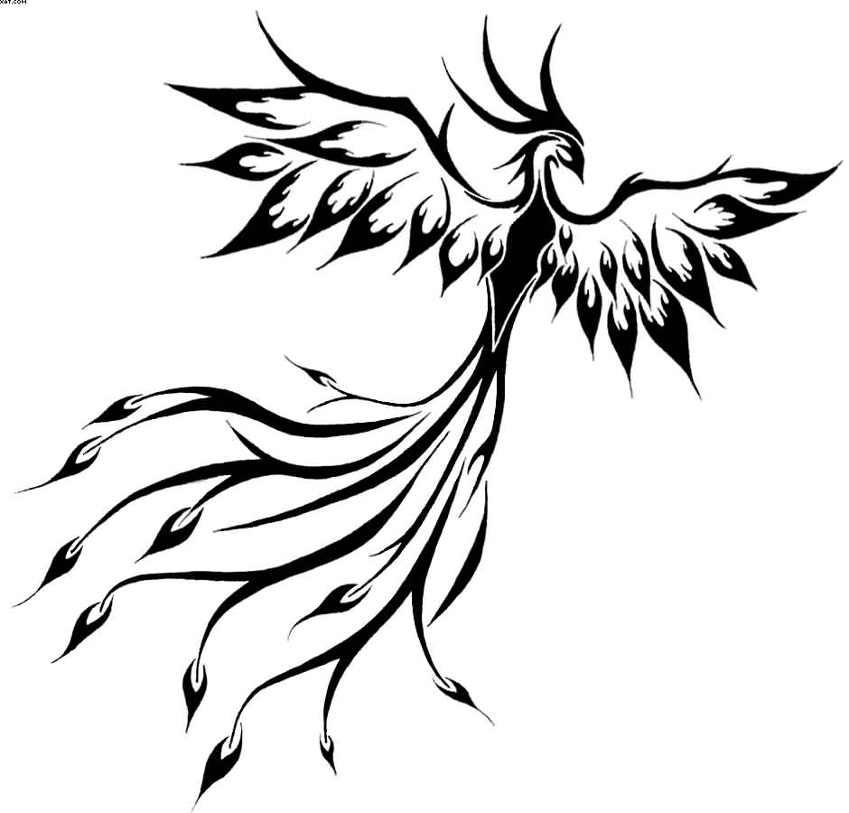 Flying Slim Phoenix Tattoo Design