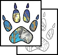 Forest Wolf Paw Tattoo Sample