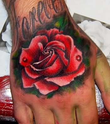 Forever Red Rose Tattoo On Hand